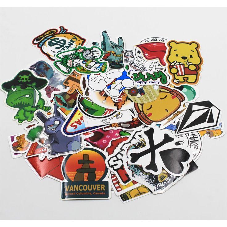 2016 HOT NEW 300 Pcs Stickers Mix Style Funny Cartoon Decal Fridge Doodle Snowboard Luggage Decor Jdm Brand Car Bike Moto Toys