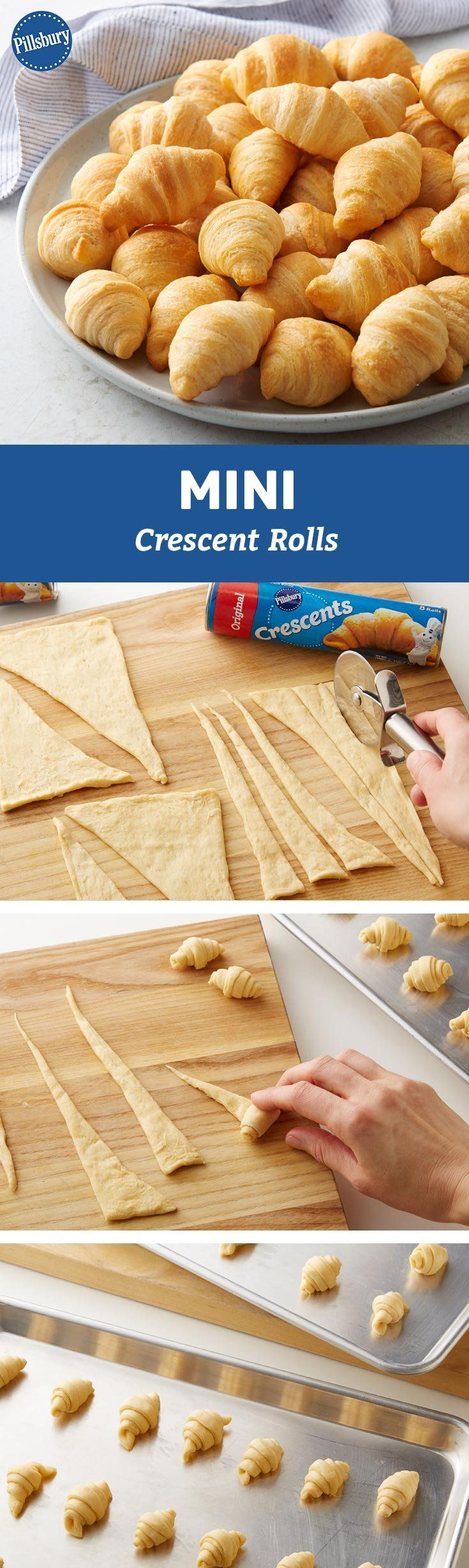 A can of crescents make 8, but when you go mini they make 24. That's winning math when you've got a crowd over to watch the big game. Snack on!
