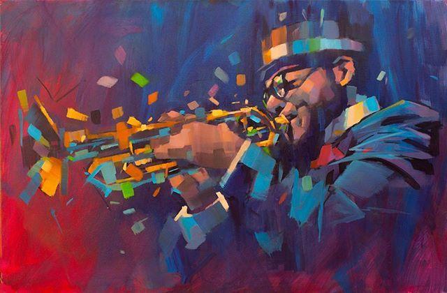 """Sidewinder"" 30ins by 20ins oil on canvas. Music for your Tuesday night.  #artistsoninstagram #instaart #art #music #jazz #trumpet #bebop #arte #oilpainting #oil #instapic #jazzclub #contemporaryart #figurativeart #jamelakib"