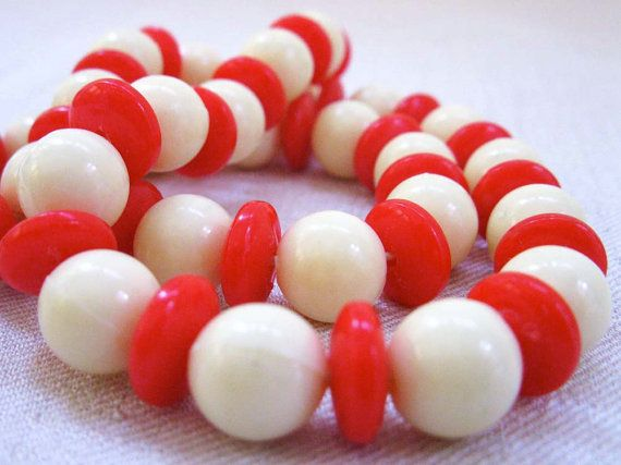 Vintage Holiday Candy Stripe Beaded Necklace by ClockWinder, $12.00