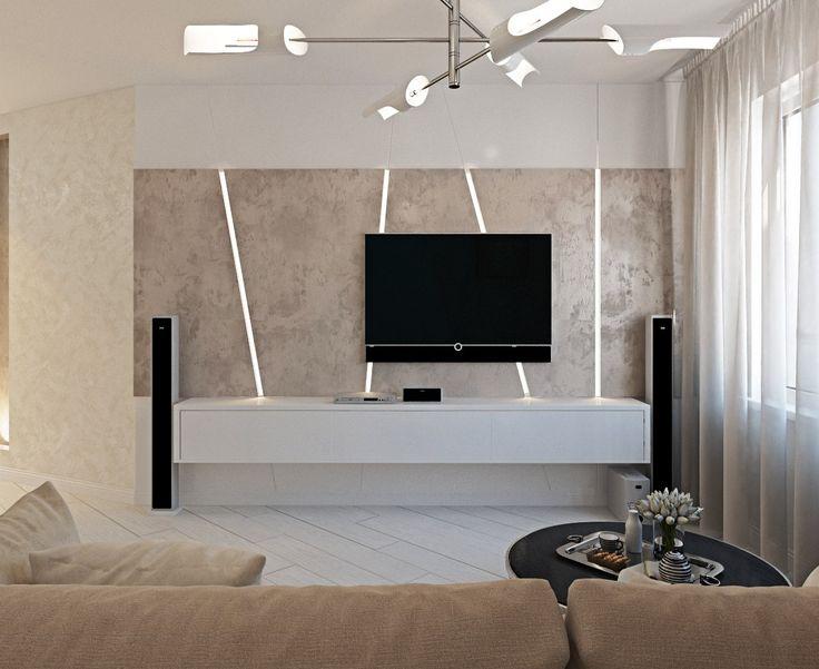 2к.кв. в ЖК Черемушки 2 (70 кв.м) получилась очень современной и светлой, а главное просторной и идеально подходящей для отдыха. Каждая комната несет в себе что-то необычное в оформлении, например, стена с полосатыми обоями, декоративные мягкие панели в спальне, световые полосы в зоне телевизора в гостиной.