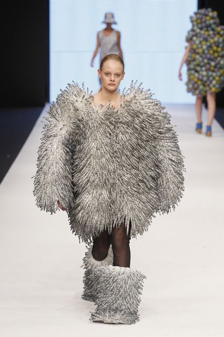 """This is a model walking during a Maria Sofia Bahlner fashion show from what I am told is the """"Swedish School Of Textiles,"""" during Mercedes-Benz Stockholm Fashion Week."""