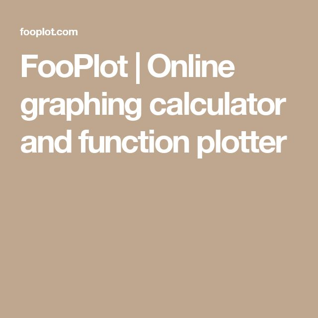 FooPlot | Online graphing calculator and function plotter