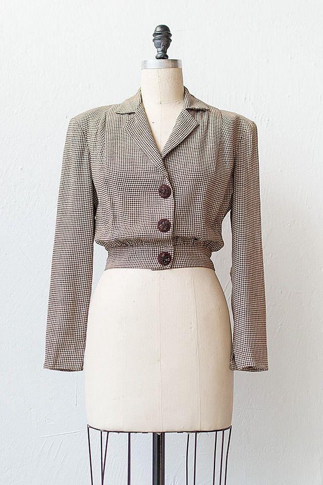 vintage 1940s brown herringbone jacket