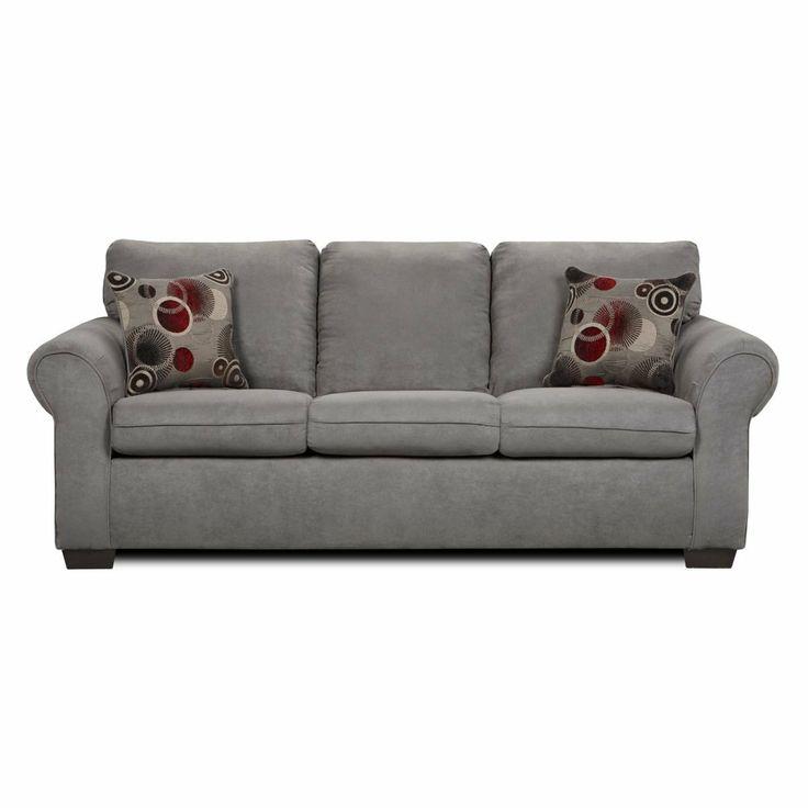 Furniturema Flat Suede Graphite Fabric Sofa Made In Usa Sofas