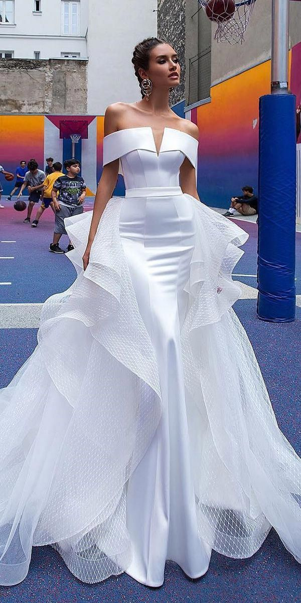 0be40e8012ef sexy wedding dresses ideas simple straight neckline with overskirt crystal  design