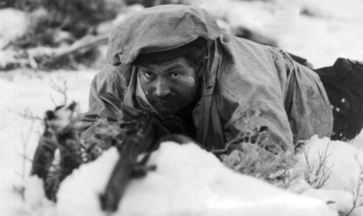 Finnish soldier in the battle of the city Salla