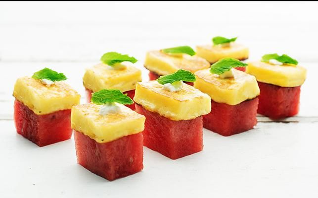 ORGANIC HALOUMI, WATERMELON & MINT CANAPES – Christmas Recipe #2 - Organic Haloumi, watermelon, yoghurt & mint. Try this refreshing flavour combination at your next BBQ. So quick and easy to make > Recipe on our website.