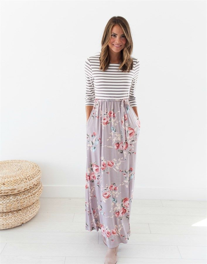 98a1af1bb4d1 Tabitha Stripe/Floral Maxi in 2019 | Clothing inspiration | Dresses, Maxi  skirt outfits, Summer dress outfits