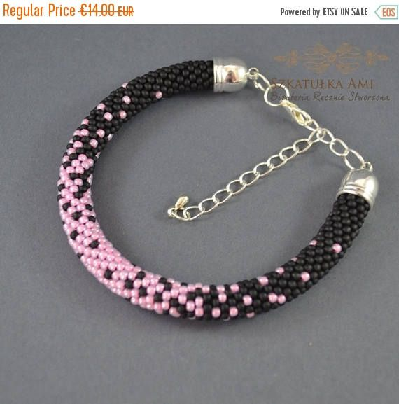 ON SALE Pink bracelet crochet colorful bracelet seed beads