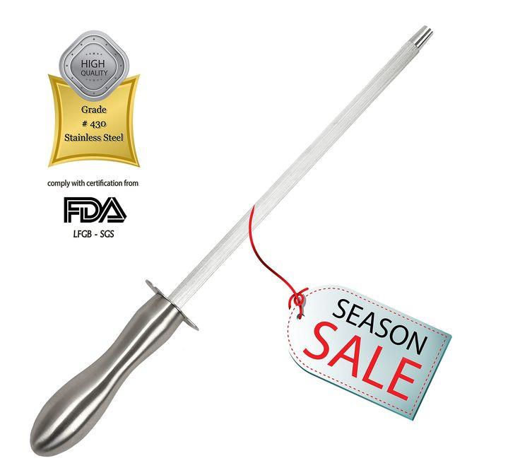 Stainless Steel Knife Sharpening Mower Steel Rod Blade Sharpener - Best Chefs Kitchen knives Choice. By Stone boomer.
