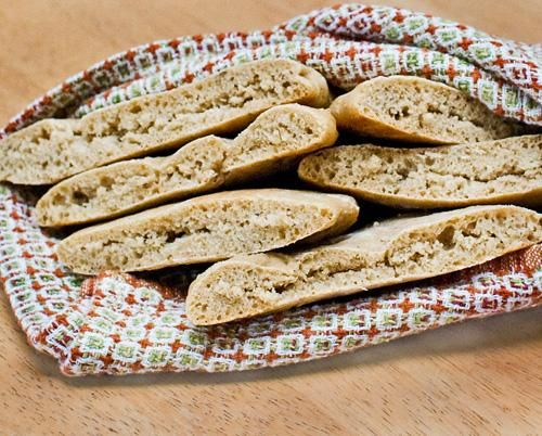Healthy Whole Wheat Pita Bread (No Oil or Sugar) - this recipe worked great!  Just be sure to flour both sides of the dough when rolling it out to make for easier flipping.  Made 8 instead of 10; perfect for sandwiches.