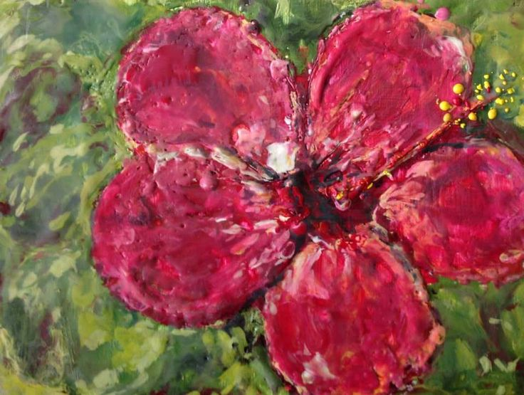 Hibiscus Wax and pigment on board