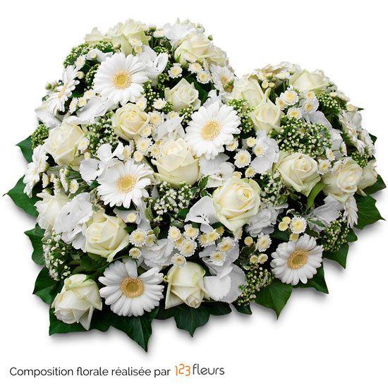 Eternel coeur de fleurs deuil