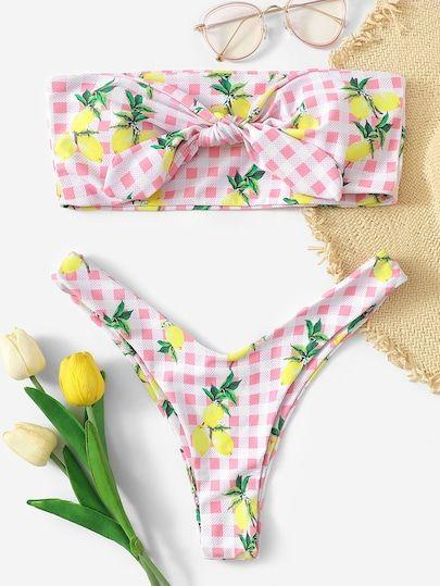 94309d6ee1 Random Lemon & Gingham Bandeau With High Cut Bikini | Colorful Tops ...