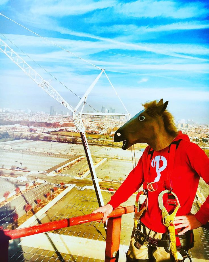 Just horsing around waiting for the crane to lift the new lights for the Phillies stadium.  #bmc #philly #philadelphia #phillies