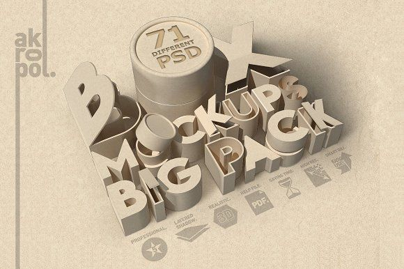 Box Big Pack Mock Ups 71-PSD by akropol on @creativemarket