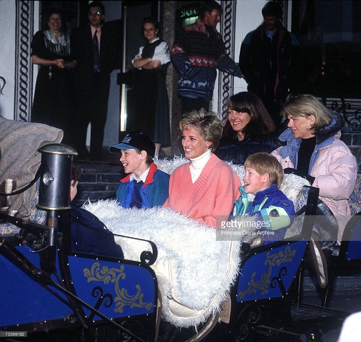 Princess Diana (1961 - 1997) with her sons Prince William and Prince Harry and friends Kate Menzies and Catherine Soames in a horse-drawn sleigh during a skiing holiday in Lech, Austria, March 1994.