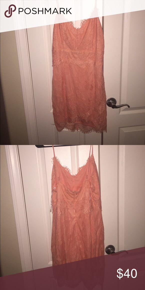 Nasty gal peach lace dress Brand: glamorous from nastygal. NWT never been worn Nasty Gal Dresses Mini