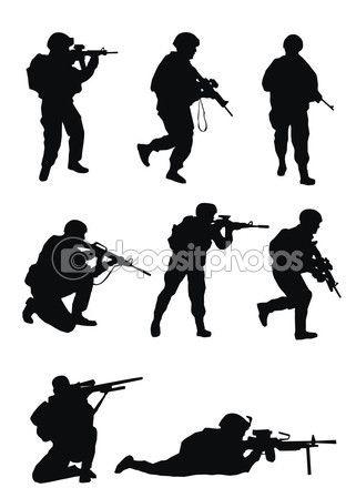 Солдаты силуэт — Стоковая иллюстрация #59383661