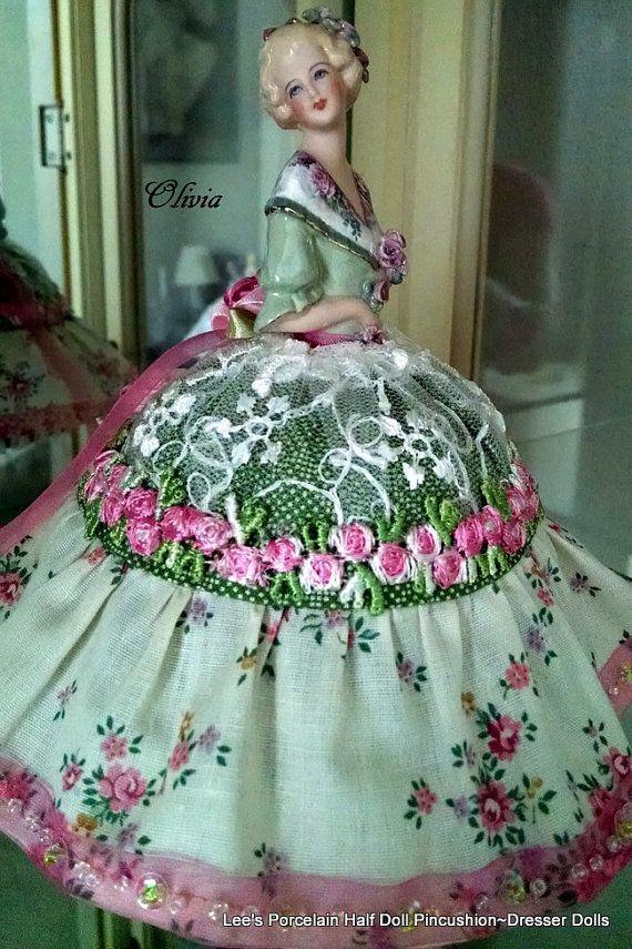 Porcelain Half Doll PincushionDresser by LeesVintageTreasures