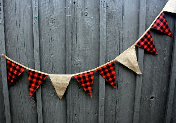 Lumberjack Burlap & Buffalo Plaid Pennant Flag by AmpersandGO