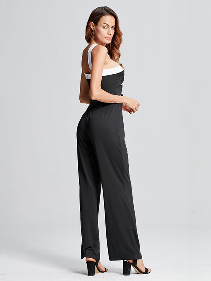 Celmia Casual Women Off Shoulder Sleeveless Backless Strap Sexy Jumpsuit at Banggood