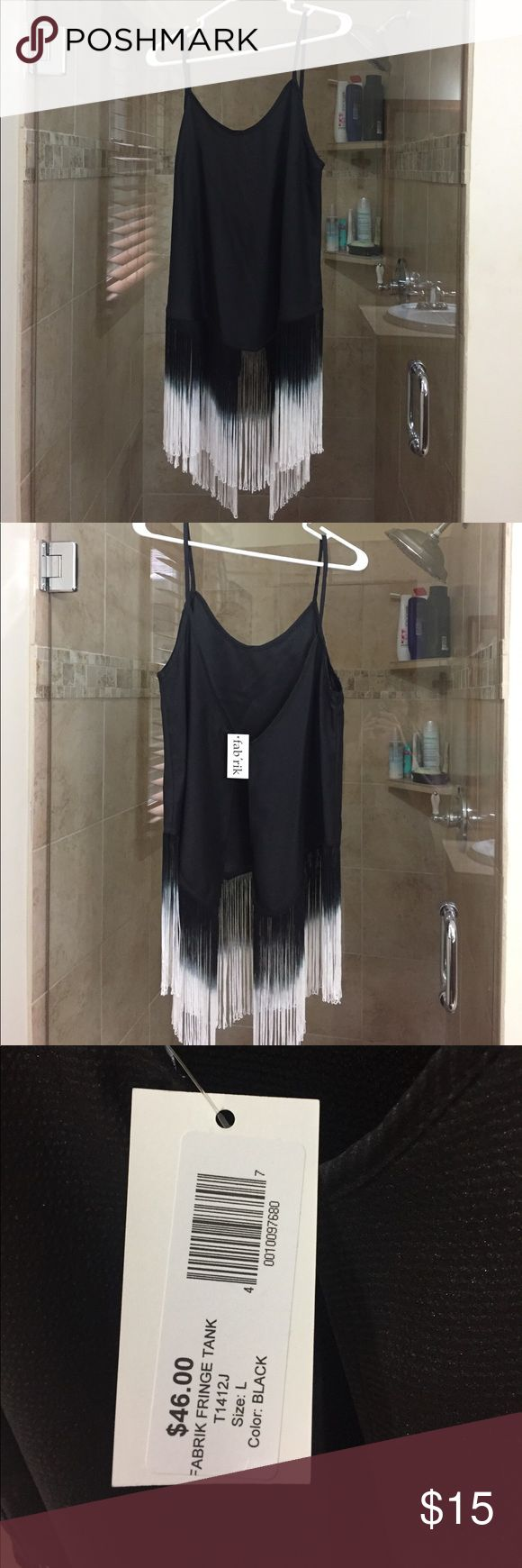 NWT- black backless fringe tank top Size large black fringe backless tank top. NWT fabrik Tops Tank Tops