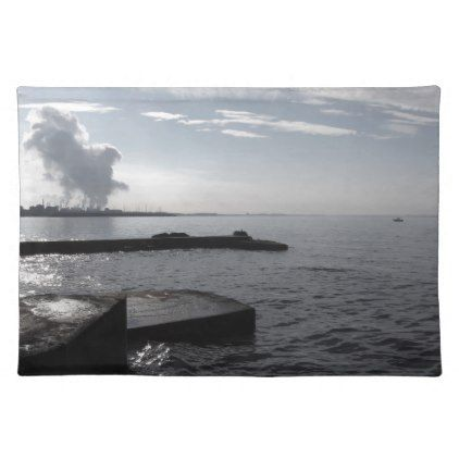 Industrial landscape along the coast Air polluting Placemat - coast design nature ocean diy custom