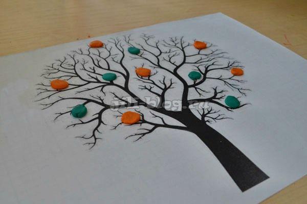 Поделка из пластилина Дерево с листочками