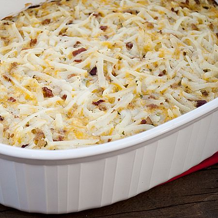 Loaded Potato Casserole		  Print  Ingredients  1 (16oz) container sour cream  2 cups cheddar cheese, shredded  1 (3oz) bag real bacon bits  2 green onions, sliced  1 package Ranch Dip mix  1 (24 oz) bag frozen shredded hash browns, thawed  Instructions  In a large bowl, mix together the sour cream, cheddar cheese, bacon bits, green onion, and dip mix.  Fold in the thawed hash browns until well coated with the mixture.  Spread the hash browns into a sprayed 9×13 pan. Bake at 350 for 40 minutes.