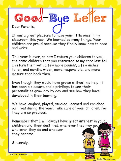 Goodbye letter for parents and student  Kinder Alphabet: End of the Year Ideas plus Free Poems and Diplomas