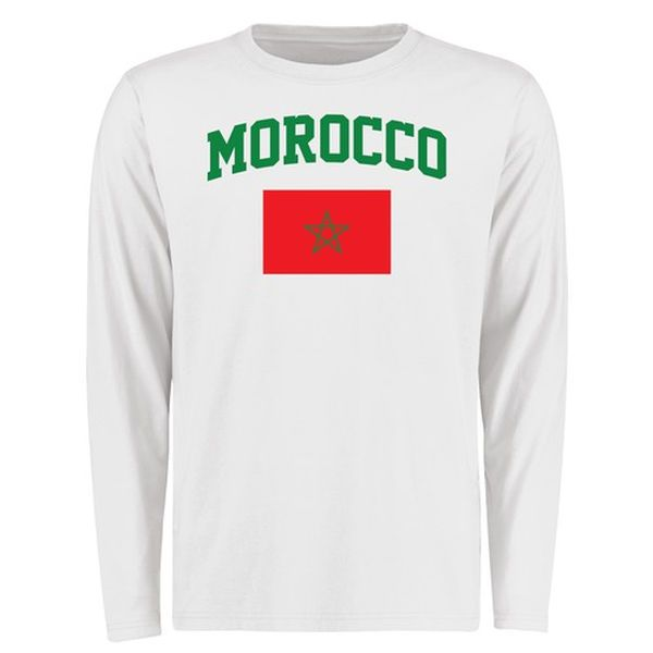 Morocco Flag Long Sleeve T-Shirt - White - $27.99