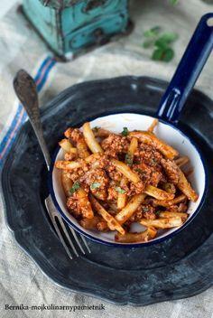 fasolka, szparagowa, mieso mielone, bolognese, bernika, kulinarny pamietnik