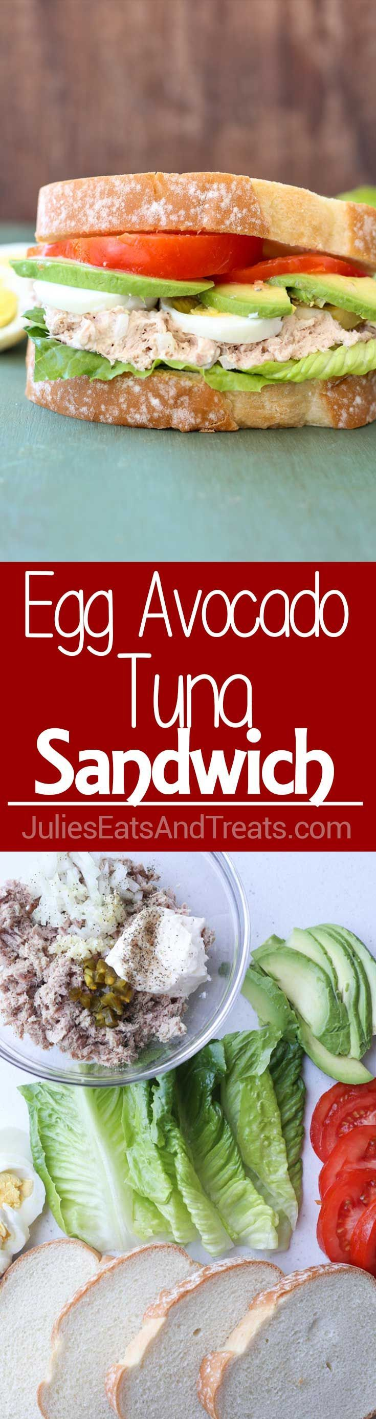 Egg Avocado Tuna Sandwich ~ Easy, Delicious Sandwich Perfect for a Quick Lunch Recipe! This Egg Tuna Sandwich Adds Avocado into the Mix for a Delicious Lunch! via @julieseats