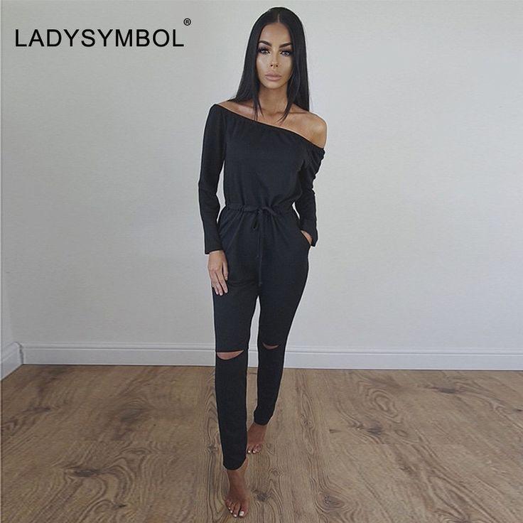 LADYSYMBOL Off Shoulder Rompers Jumpsuit Women Long Sleeve Autumn Elegant Casual Party Black Pant Hollow Jumpsuit Overalls Women