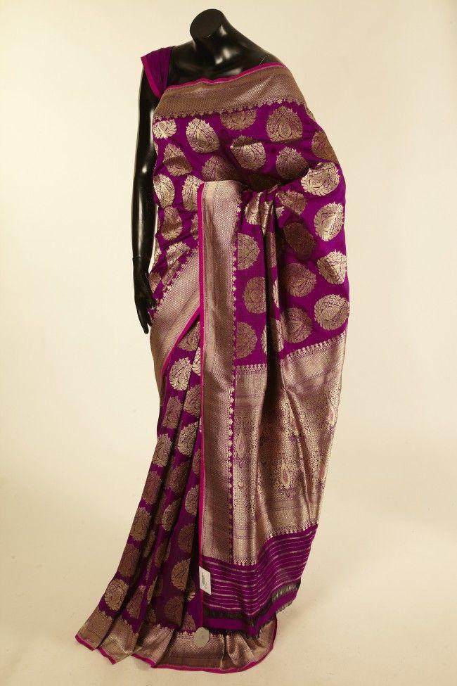 Banarsi- silk pure dark violet purple saree with blouse