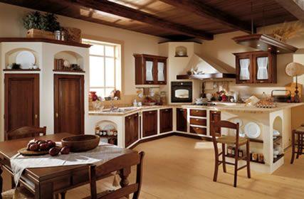 cocina rustica de ladrillos en blanco