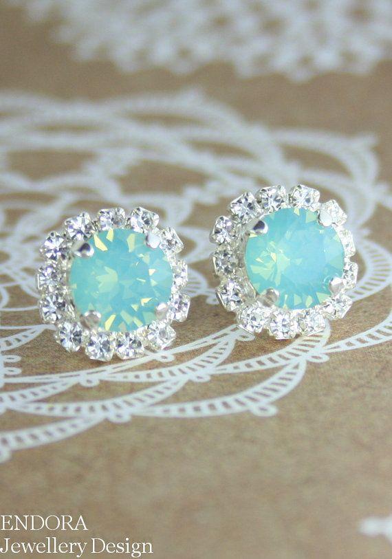 Aquamint seafoam wedding | Seafoam crystal earring | Bridesmaid earrings | #EndoraJewellery