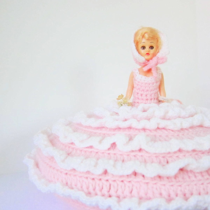 How To Make A Doll Decorative Pillow : Vintage Bed Pillow Doll 1950s 1960s Dresser Doll Pink White Crochet Girls Room Decor 1960s ...