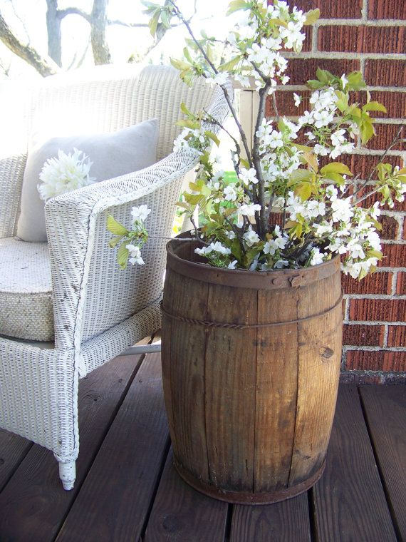 Wood barrel. Backyard idea.