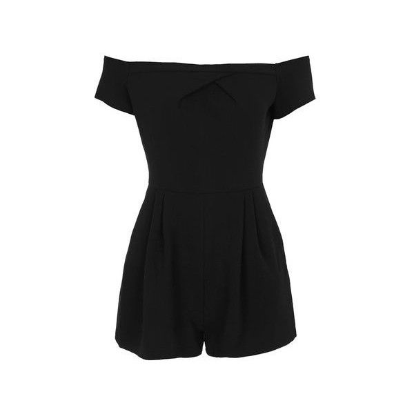 Cold Shoulder Playsuit by Love (€46) ❤ liked on Polyvore featuring jumpsuits, rompers, black, topshop rompers, topshop, off the shoulder romper, playsuit romper and topshop romper