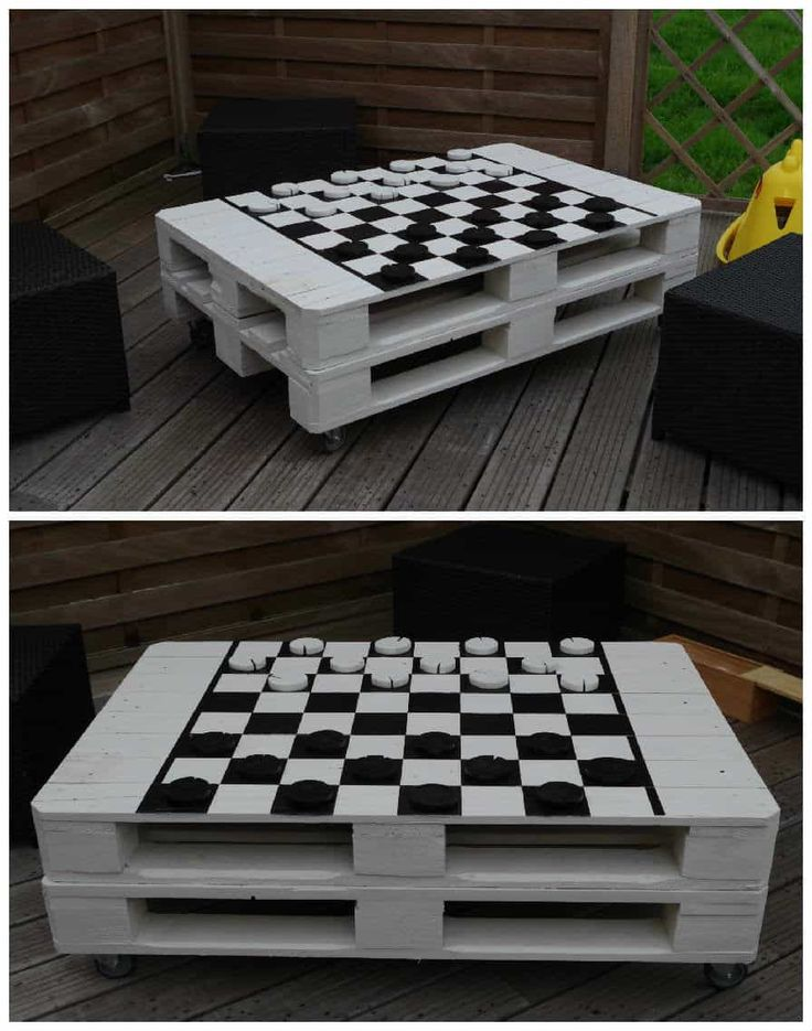 Pallet garden coffee table that I painted like a chessboard …    Read More »  #Painted, #PalletTable, #RecyclingWoodPallets #PalletCoffeeTables