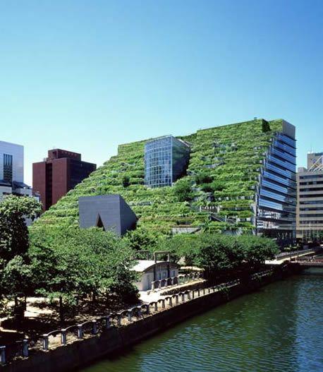 Fukuoka Prefectural Hall (Giappone, Fukuoka)  La città di Fukuoka aveva bisogno di un nuovo edificio governativo ma l'unico spazio rimasto libero in città era un grande parco. Chiamare un architetto in grado di preservare il verde fu un obbligo per l'amministrazione pubblica e Ambasz con il suo progetto ci riuscì benissimo.