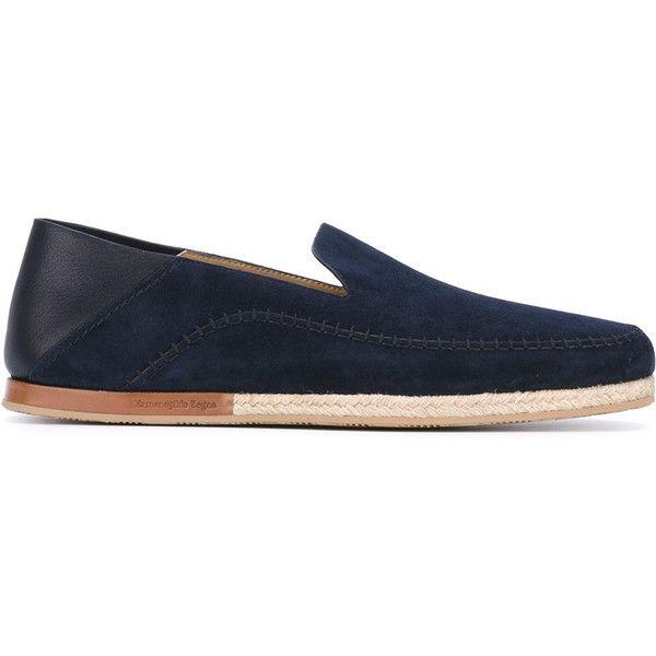 Ermenegildo Zegna slipper espadrilles (23.790 RUB) ❤ liked on Polyvore featuring men's fashion, men's shoes, men's slippers, blue, mens blue leather shoes, mens blue shoes, mens leather slippers and mens leather shoes