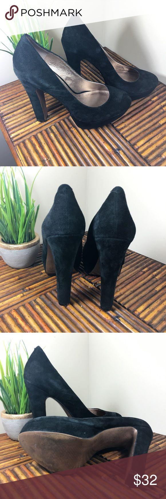 "BCBG Jodie Black Suede Pump Great Condition. Black suede. 5 1/2"" Heel and 1"" Platform. BCBGeneration Shoes Platforms"