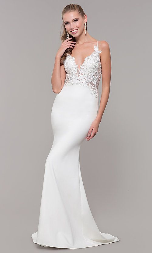21711b5258f Sleeveless Prom Dress with Embroidered Bodice