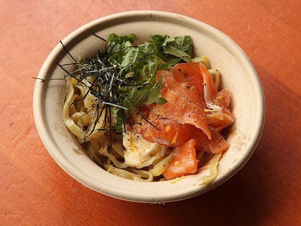 """Maze-men, or """"mixed noodles,"""" a specialty of Tokyo's (and soon to be New York's) Ivan Ramen. Cooked noodles served with a small amount of strongly flavored sauce, sort of like Italian-style pasta dishes."""