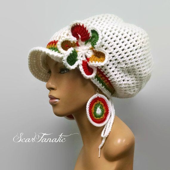 CUSTOM LISTING FOR T. F. Kreyol White dreadlock hat by ScarFanatic