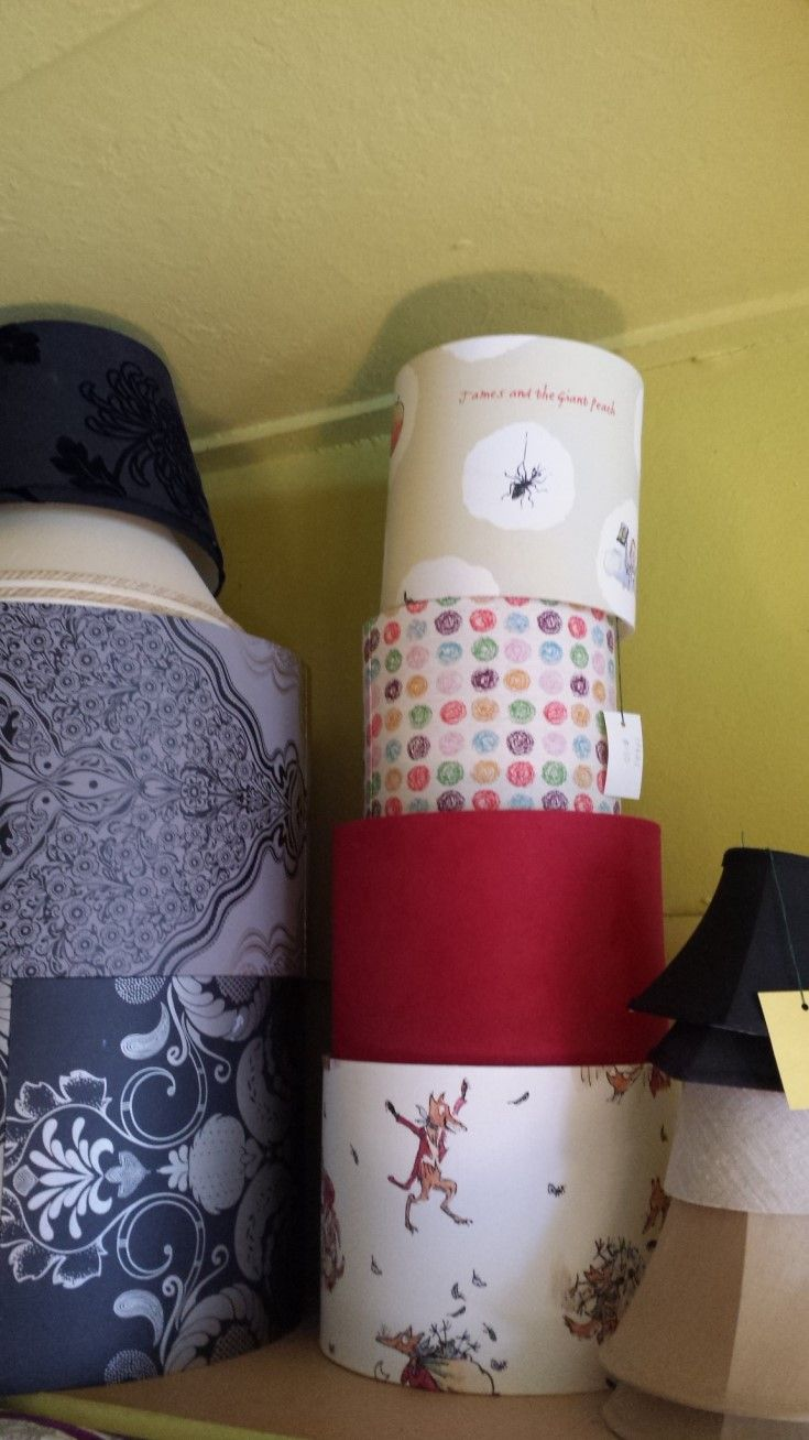 """Just some of the light/lamp shades in store. Mostly new all at bargain prices. I especially love """"Fantastic Mr Fox""""."""